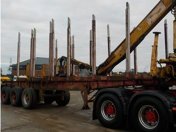 Nooteboom Tri Axle Timber Trailer, Hydraulic Crane, Hydraulic Rotating Grapple (Plating Certificate Available) - přeprava dřeva