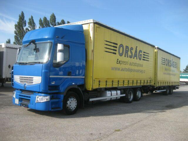 plachtový nákladní auto Renault - Premium R 430.24 EEV + Tandemanhänger ZUG